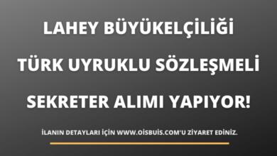 Lahey Büyükelçiliği Türk Uyruklu Sözleşmeli Sekreter Alımı Yapıyor!