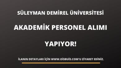 Süleyman Demirel Üniversitesi Akademik Personel Alımı Yapıyor!