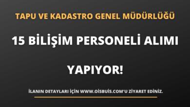 Tapu ve Kadastro Genel Müdürlüğü 15 Sözleşmeli Bilişim Personeli Alımı Yapıyor!