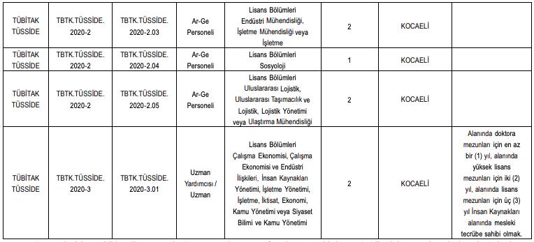 TÜBİTAK TÜSSİDE 34 Personel Alımı Detayları 2