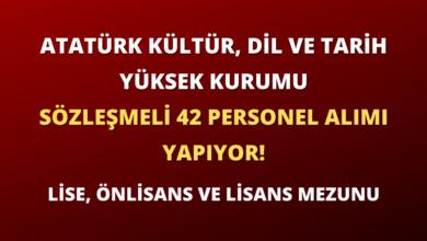 Atatürk Kültür, Dil ve Tarih Yüksek Kurumu Sözleşmeli 42 Personel Alımı Yapıyor!