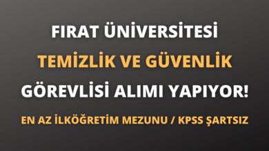 Fırat Üniversitesi Temizlik Görevlisi ve Güvenlik Görevlisi Alımı Yapıyor!