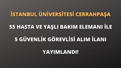 İstanbul Üniversitesi Cerrahpaşa 55 Hasta ve Yaşlı Bakım Elemanı İle 5 Güvenlik Görevlisi Alım İlanı Yayımlandı!