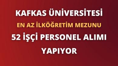 Kafkas Üniversitesi En Az İlköğretim Mezunu 52 İşçi Personel Alımı Yapıyor
