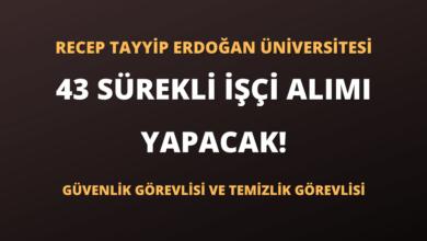 Recep Tayyip Erdoğan Üniversitesi 43 Sürekli İşçi Alımı Yapacak!
