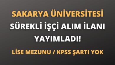 Sakarya Üniversitesi Sürekli İşçi Alım İlanı Yayımladı!