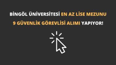 Bingöl Üniversitesi En Az Lise Mezunu 9 Güvenlik Görevlisi Alımı Yapıyor!