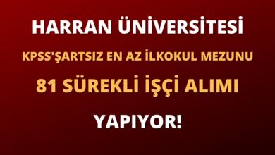 Harran Üniversitesi En Az İlkokul Mezunu 81 Sürekli İşçi Alımı Yapıyor!