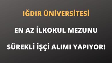 Iğdır Üniversitesi En Az İlkokul Mezunu Sürekli İşçi Alımı Yapıyor!