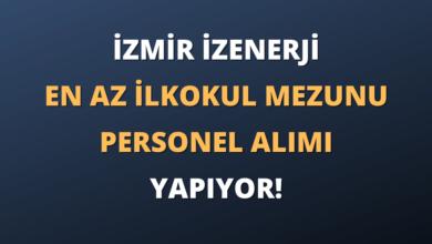 İzmir İZENERJİ En Az İlkokul Mezunu Personel Alımı Yapıyor!
