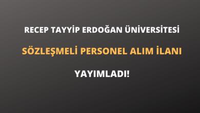 Recep Tayyip Erdoğan Üniversitesi Sözleşmeli Personel Alım İlanı Yayımladı!