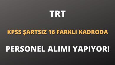TRT KPSS Şartsız 16 Farklı Kadroda Personel Alımı Yapıyor!