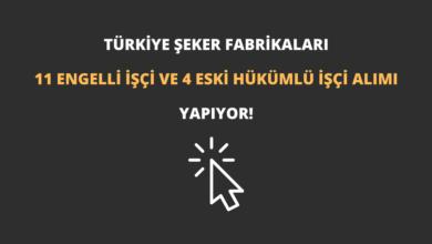 Türkiye Şeker Fabrikaları 11 Engelli İşçi ve 4 Eski Hükümlü İşçi Alımı Yapıyor!