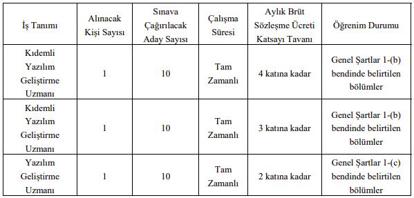 Marmara Üniversitesi Sözleşmeli 3 Bilişim Personeli Alımı - Tablo 1