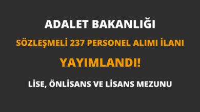 Adalet Bakanlığı Sözleşmeli 237 Personel Alımı İlanı Yayımlandı!