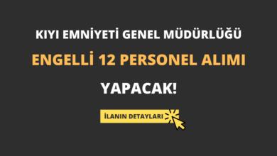 Kıyı Emniyeti Genel Müdürlüğü Engelli 12 Personel Alımı Yapacak!