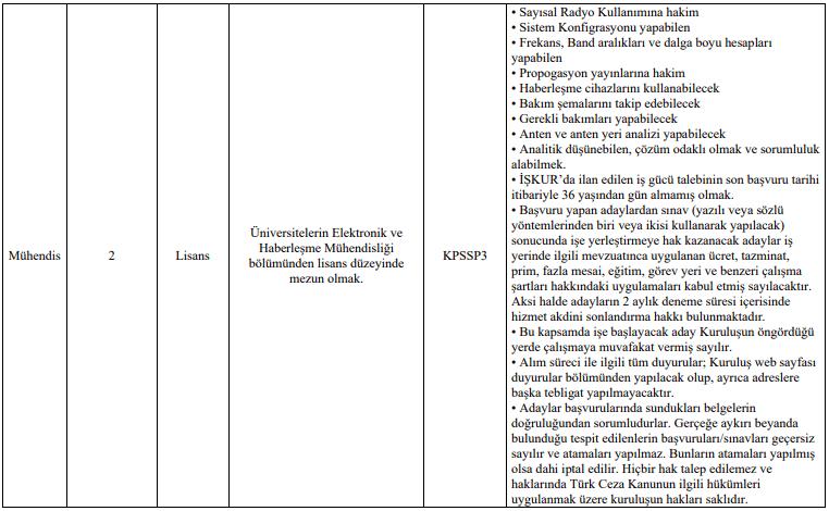 Kıyı Emniyeti Genel Müdürlüğü 36 Kamu Personeli Alımı Tablo 8