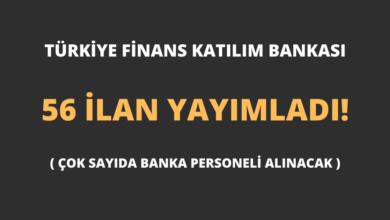 Türkiye Finans Katılım Bankası 56 İlan Yayımladı!