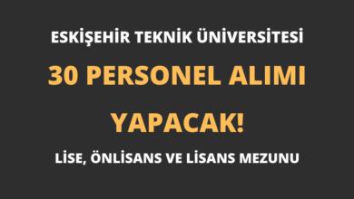 Eskişehir Teknik Üniversitesi En Az Lise Mezunu 30 Personel Alımı Yapacak!