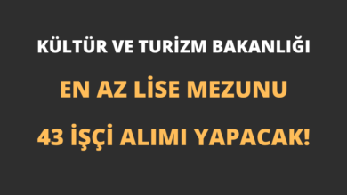 Kültür ve Turizm Bakanlığı En Az Lise Mezunu 43 İşçi Alımı Yapacak!