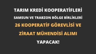 Tarım Kredi Kooperatifleri Samsun ve Trabzon Bölge Birlikleri 26 Kooperatif Görevlisi ve Ziraat Mühendisi Alımı Yapacak!