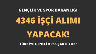Gençlik ve Spor Bakanlığı 4346 İşçi Alımı Yapacak!