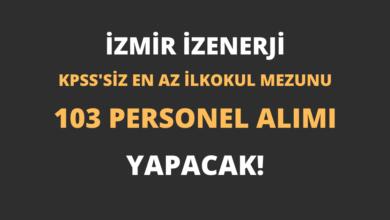 İzmir İZENERJİ En Az İlkokul Mezunu 103 Personel Alımı Yapacak!