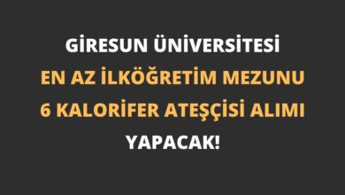 Giresun Üniversitesi En Az İlköğretim Mezunu 6 Kalorifer Ateşçisi Alımı Yapacak!