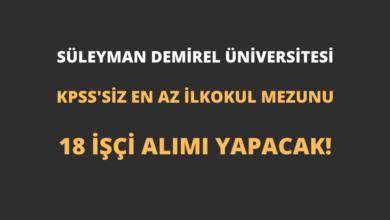 Süleyman Demirel Üniversitesi En Az İlkokul Mezunu 18 İşçi Alımı Yapacak!