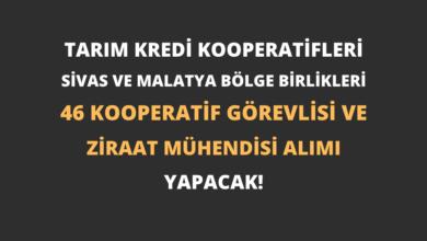 Tarım Kredi Kooperatifleri Sivas ve Malatya Bölge Birlikleri 46 Kooperatif Görevlisi ve Ziraat Mühendisi Alımı Yapacak!