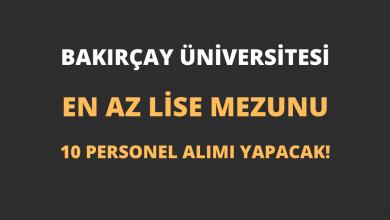 Bakırçay Üniversitesi En Az Lise Mezunu 10 Personel Alımı Yapacak!