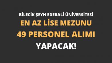 Bilecik Şeyh Edebali Üniversitesi En Az Lise Mezunu 49 Personel Alımı Yapacak!
