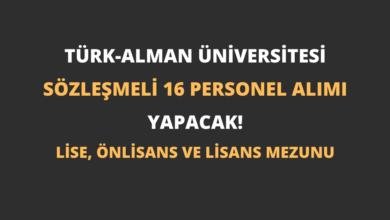 Türk-Alman Üniversitesi Sözleşmeli 16 Personel Alımı Yapacak!